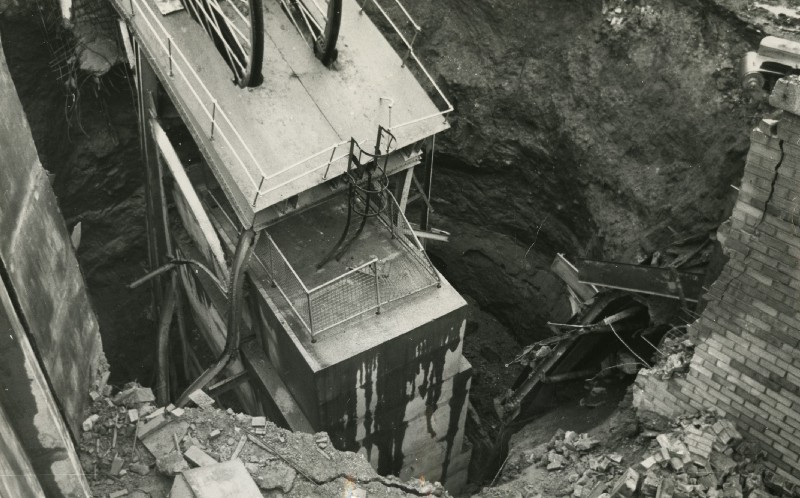 A black and white image of Barony's collapsed shaft