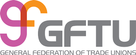 General Federation of Trade Unions logo.  Contains a pink and orange image with a stylised 'g' and 'f' and then the the initials GFTU in grey
