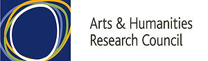 Arts and Humanities Research Council.  Text is black on a white background.  image is in colour a number of circles on a blue background in white blue green and orange.
