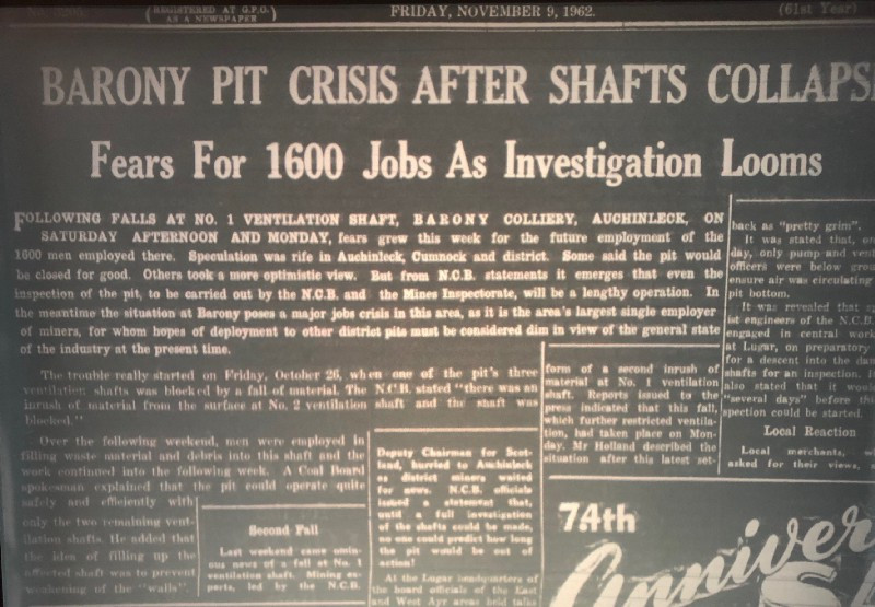 Image of newspaper headline says 'Barony Pit Crisis after shafts Collapse'