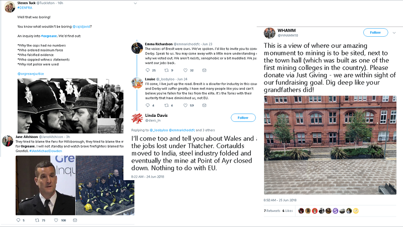 Images of tweets about mining heritage, they include reference to the Miners' Strike, Thatcher, and a mining college,