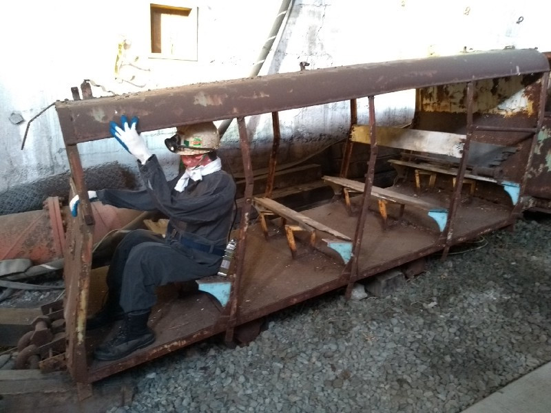 A life-sized dummy in a rusting man rider
