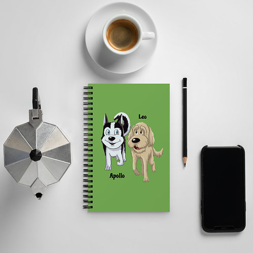Apollo and Leo Spiral notebook
