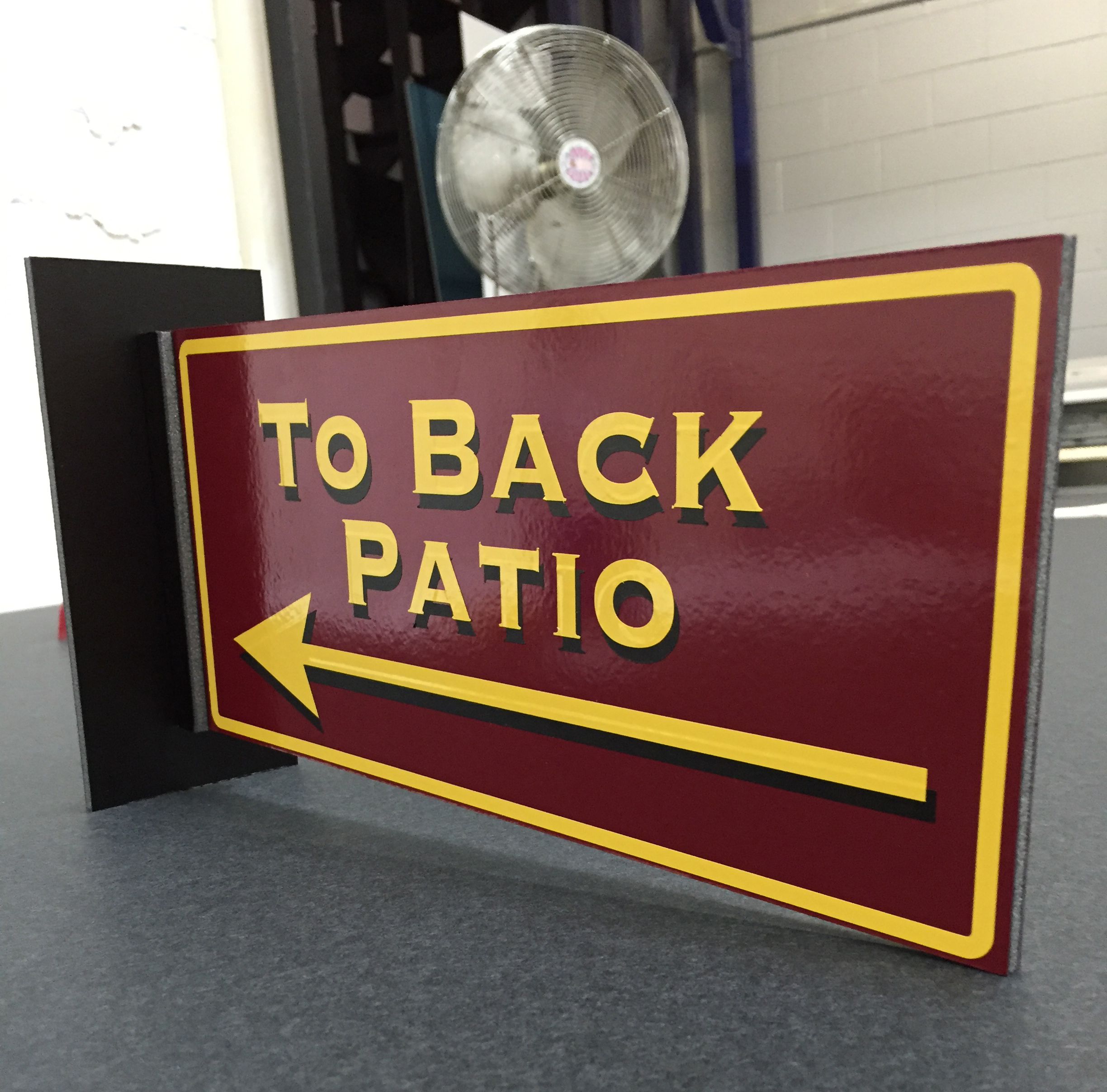 Back Patio Gatorboard Sign