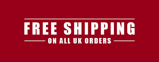 free shipping on all UK orders sign red sign with white writing