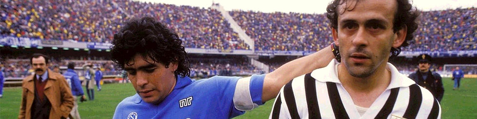 diego maradona reaching out to a juventus player