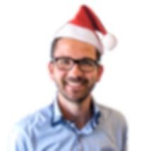 portrait of man with christmas hat
