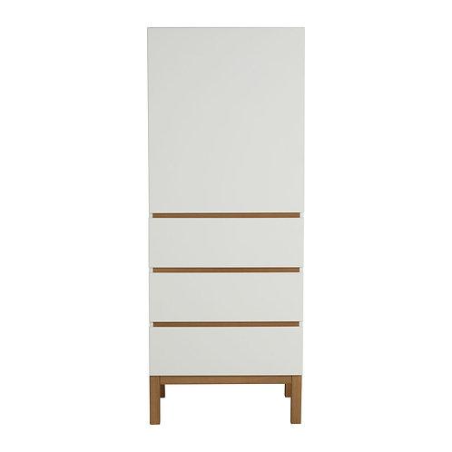 Indigo Wardrobe 1 Door + 3 Drawers - White