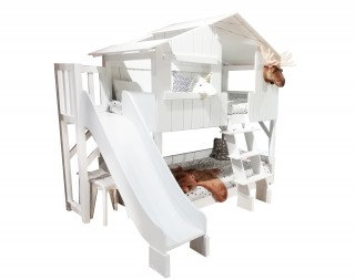 Bunk Bed Tree House with Slide incl. Matresses