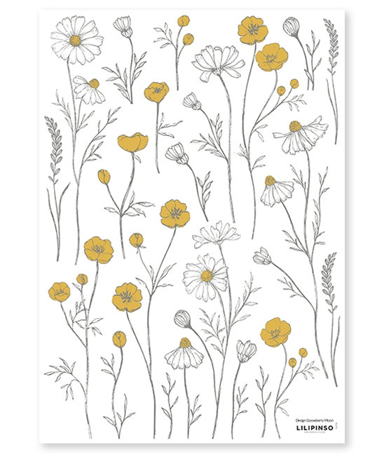 Wall Stickers Buttercups and Chamomile Flowers