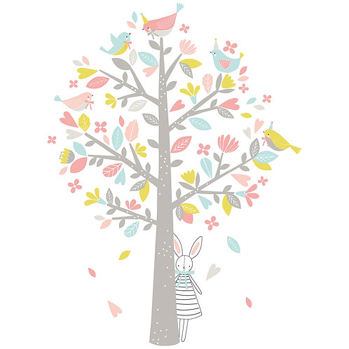 Wall Sticker XL - Tree with pink sparrows
