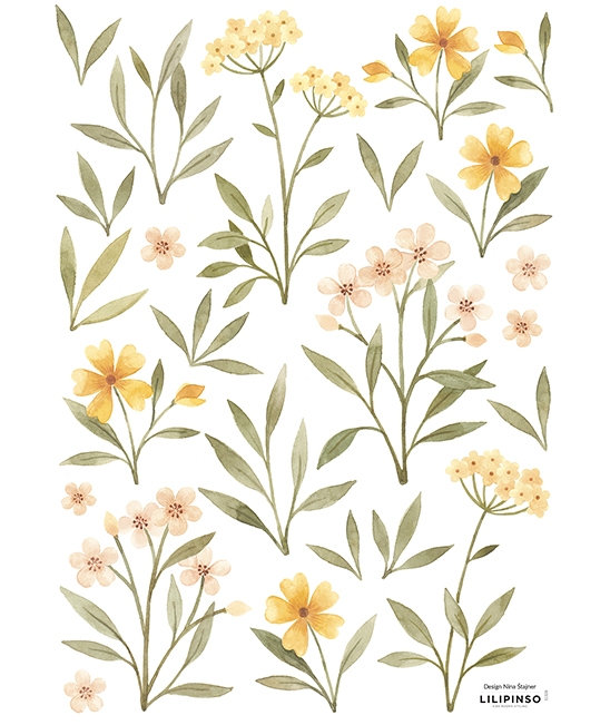Wall Stickers Orange and Yellow Flowers