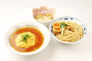 サバ濃厚鶏つけ麺+半天津飯