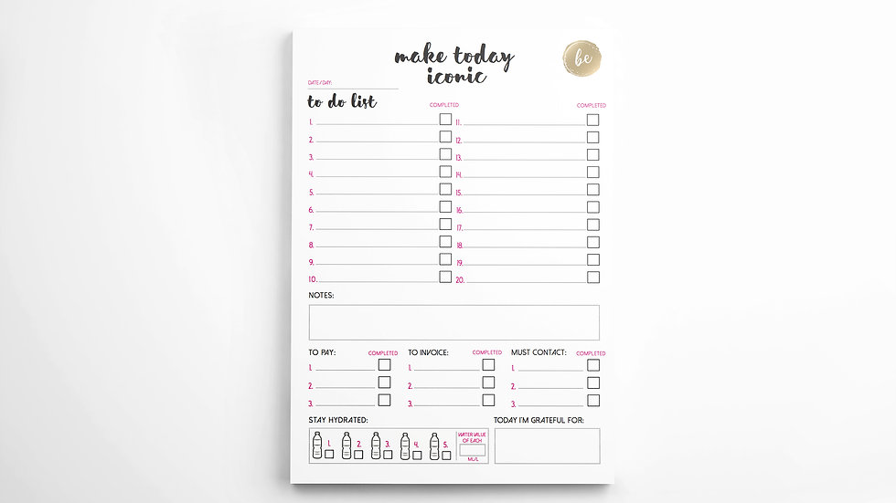 DAILY PLANNER - PREMIUM A5 NOTEPAD (SHORT LINES)