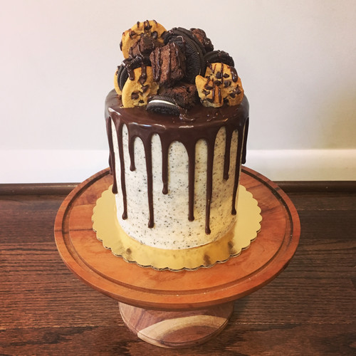 Chocolate cake with cookies 'n cream frosting and chocolate ganache