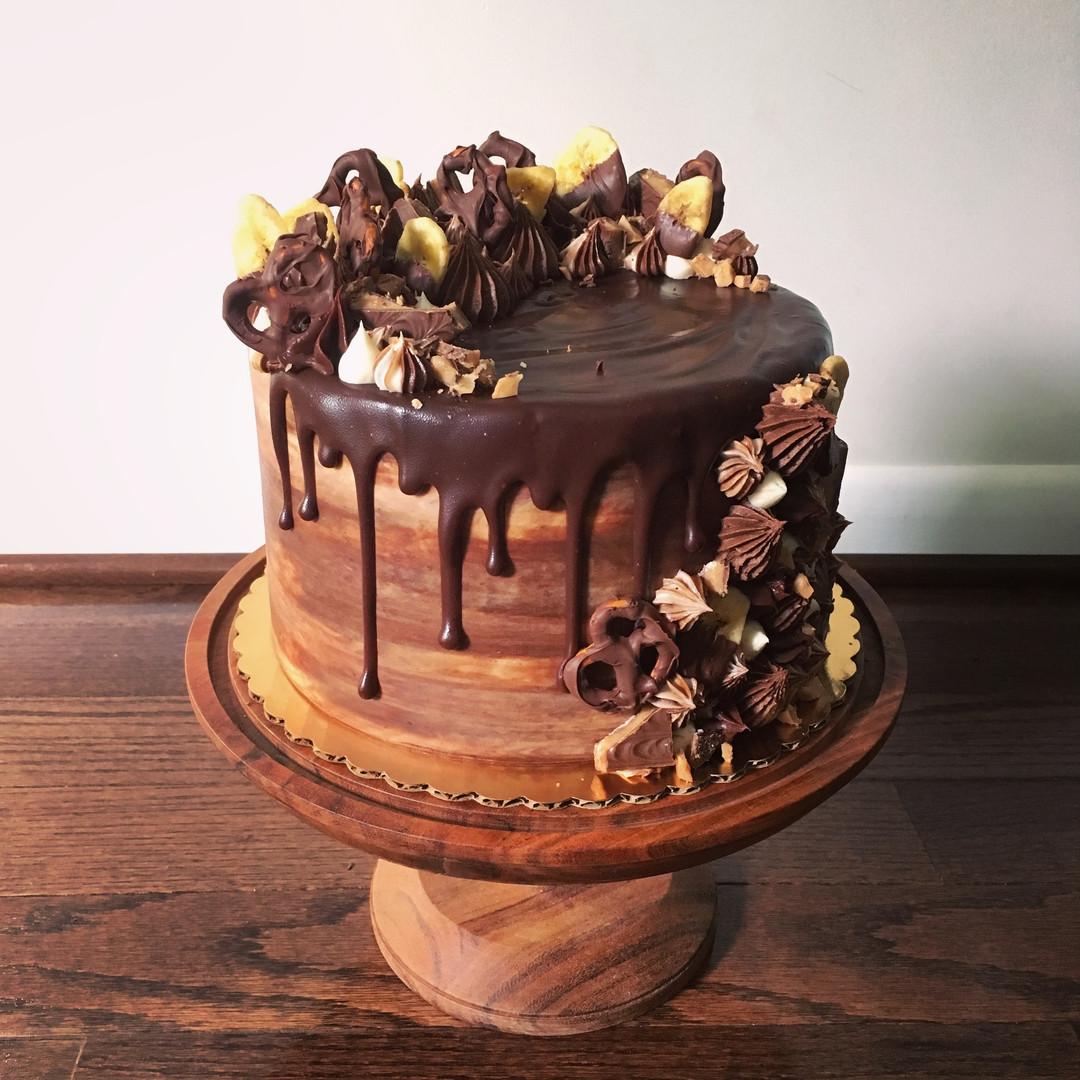 Banana cake with chocolate buttercream and chocolate ganache