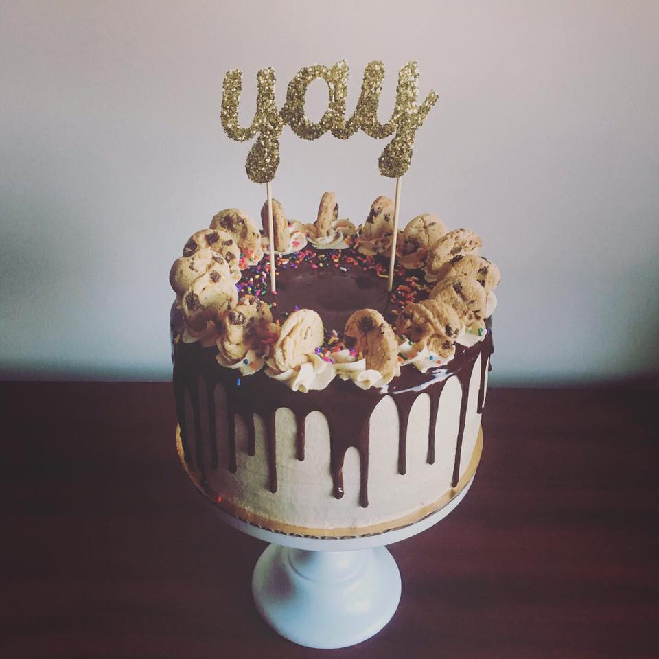 Vanilla cake with cookie dough frosting and chocolate ganache