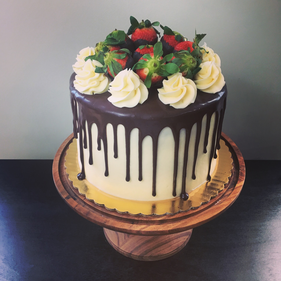 Chocolate cake with caramel frosting and chocolate ganache