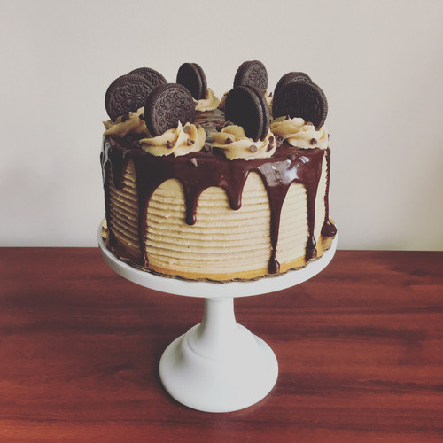 Chocolate chip cake with cookie dough frosting and chocolate ganache