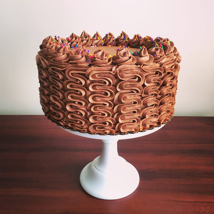 Banana cake with chocolate buttercream