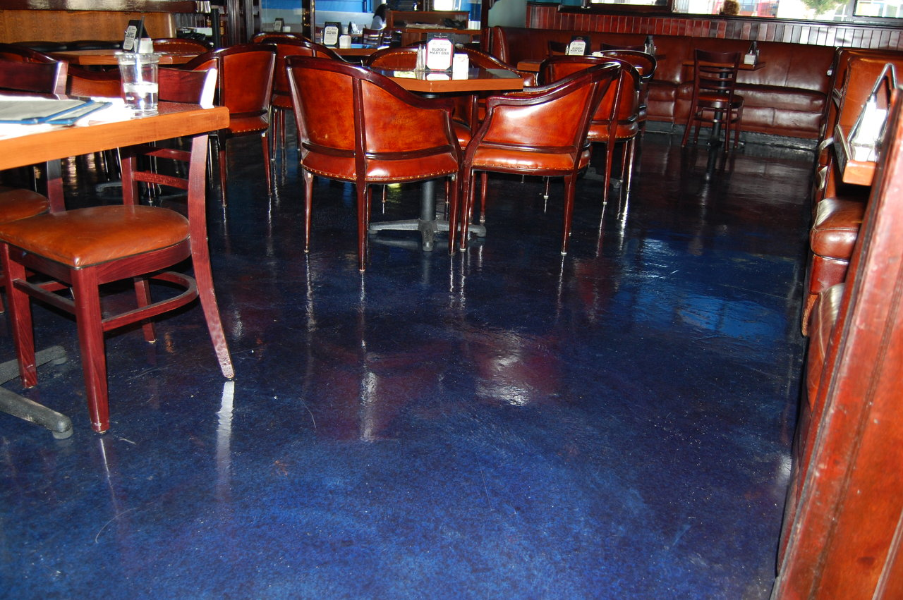 Belmont Cafe Concrete Overlay w. Stain Epoxy