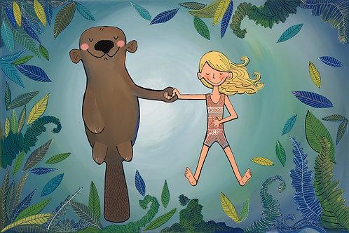 Otter and Swimmer Girl