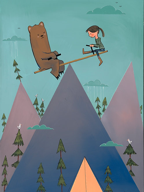 Bear and Girl in the Mountains