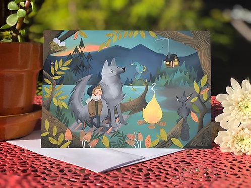 Wolf, Boy and Bluebird card