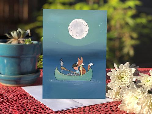 #13 Night Canoe- Blank Card