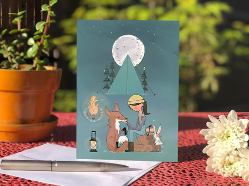Friendly fox and full moon card