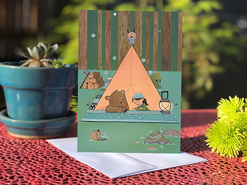 Girl and Bear Camping