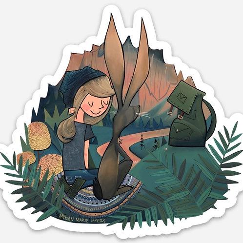 Sticker- Smith Rock Girl and Rabbit