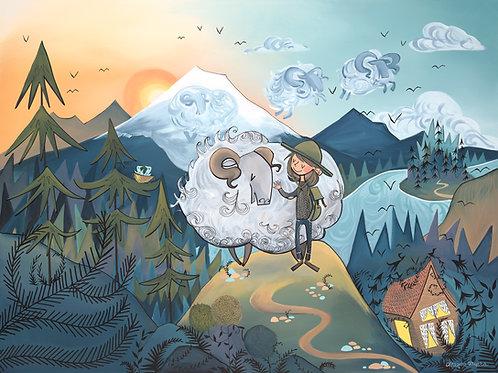 Hiker and Mountaintop Sheep