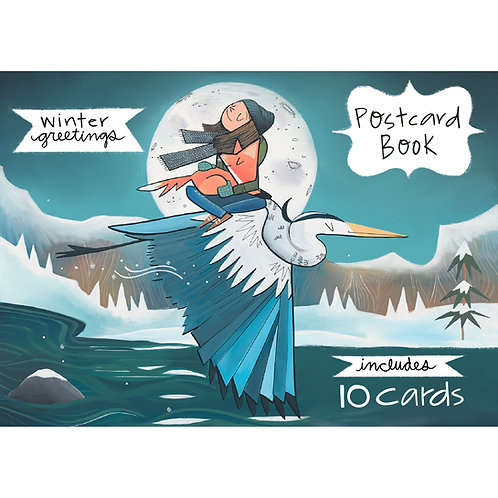 NEW! Winter Greetings - Big Illustrated Postcard Book - Ten Cards - 5x7