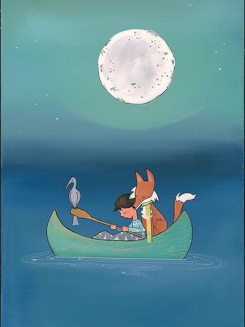 Boy Fox and Canoe