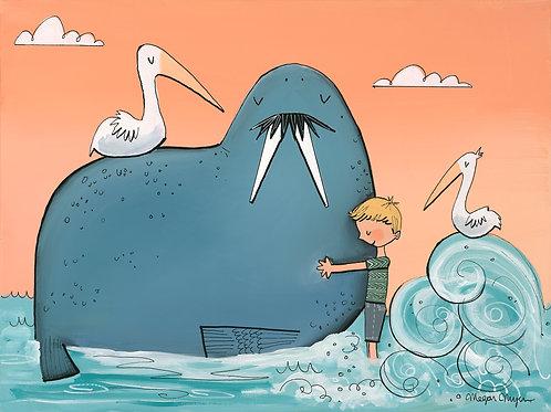 Seashore Walrus and Pelican