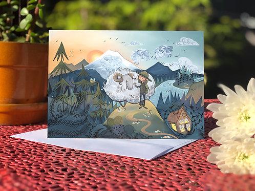 Mountain Sheep and adventure girl