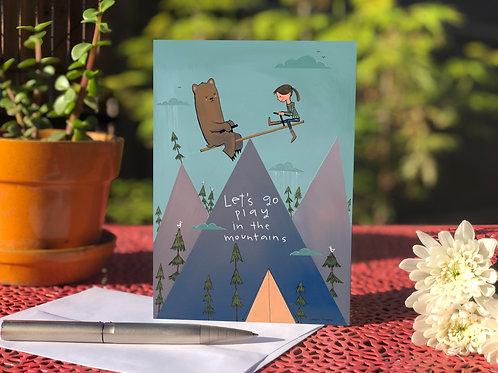 #12 Mountain Playground- Greeting Card