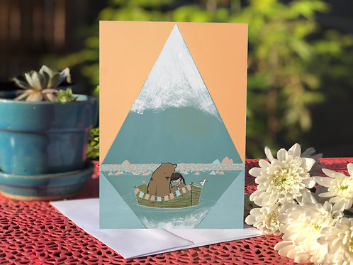 Mountain Boat and Bear card