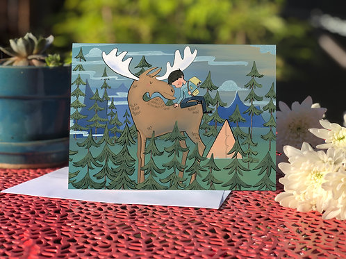 Friendly Moose and Adventure Boy card