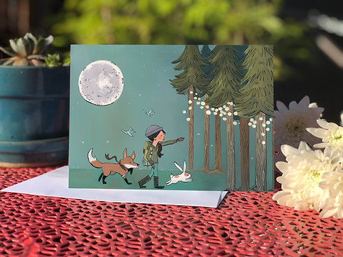 Hiker girl with fox and rabbit, into the forest card