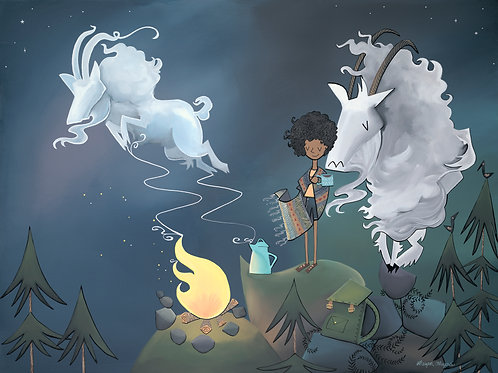 Campfire Goat and Girl