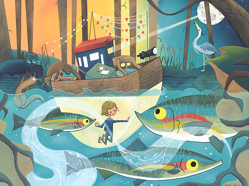 River Boat, Otters and Rainbow Trout