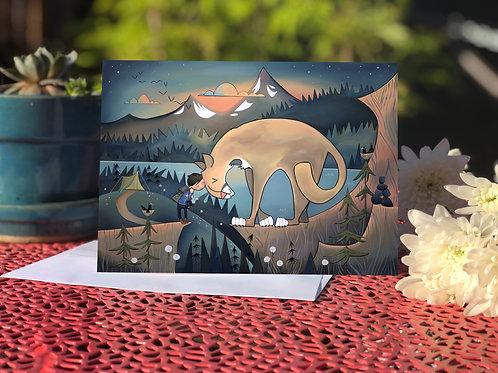 #34 Mountain Lion Snuggle - Blank Card