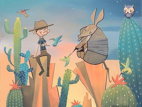 Desert Cowboy and Cactus