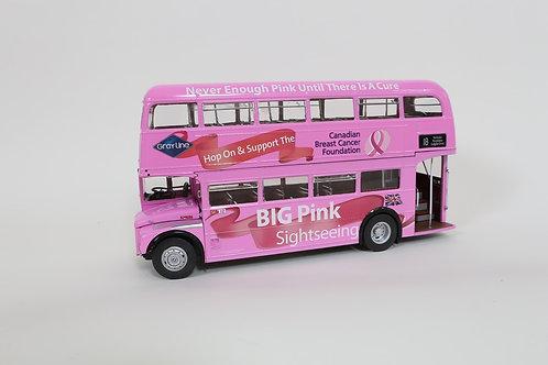 Large, Die-Cast Big Pink Sightseeing Bus
