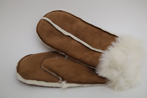 Faux Suede Sherpa Mittens