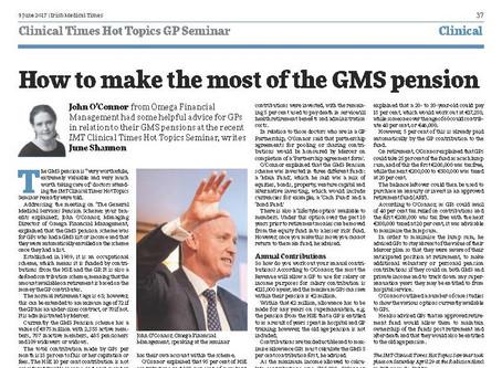 Irish Medical Times Hot Topics Seminar: GMS Pension Scheme