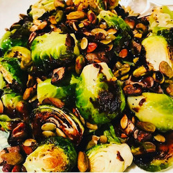 Roasted sprouts and pumpkin seeds