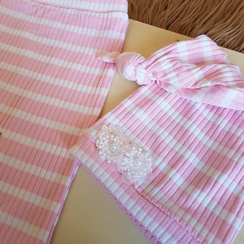 Calça + touca listras rosa - Newborn